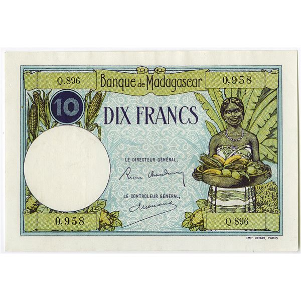 Banque de Madagascar. ND (ca. 1937-1947) Issue Banknote.