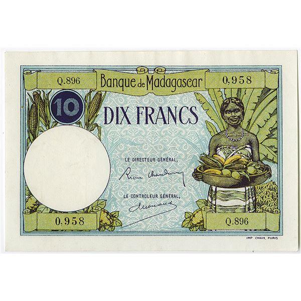 Banque de Madagascar. ND (ca. 1937-1947) Issue Banknote.