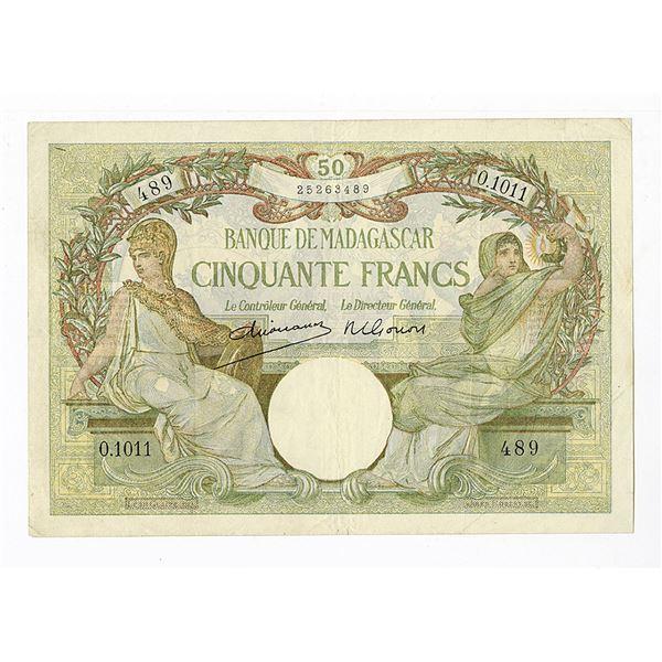 Banque De Madagascar, ND (1937-47) Issue Banknote.