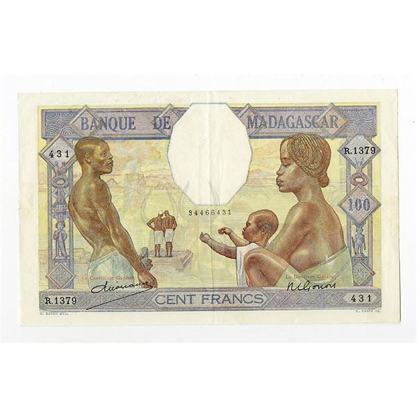 Banque De Madagascar, ND (1937) Issue Banknote.