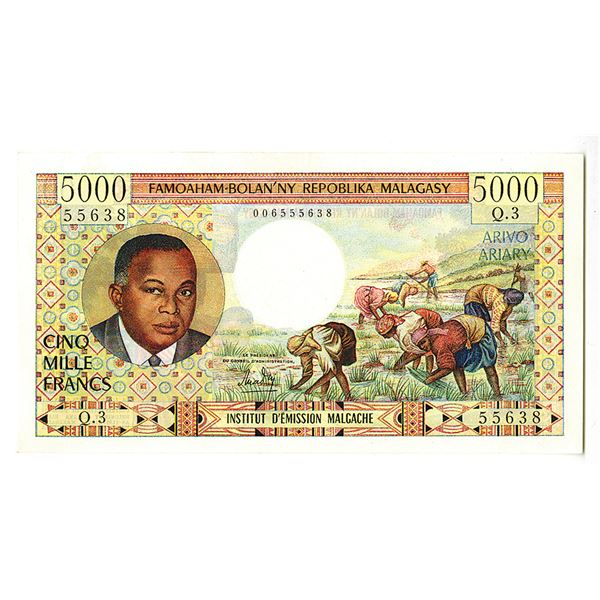 Madagascar, Institut d'Emission Malagache. ND (1966) Issue Banknote.