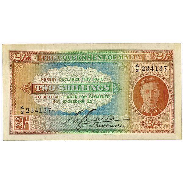 Government of Malta. ND (1940-1943) Issue Banknote.