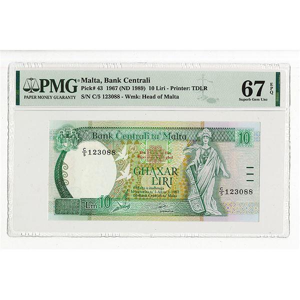 Bank Centrali ta' Malta. 1967 (ND 1989) Issue Banknote.