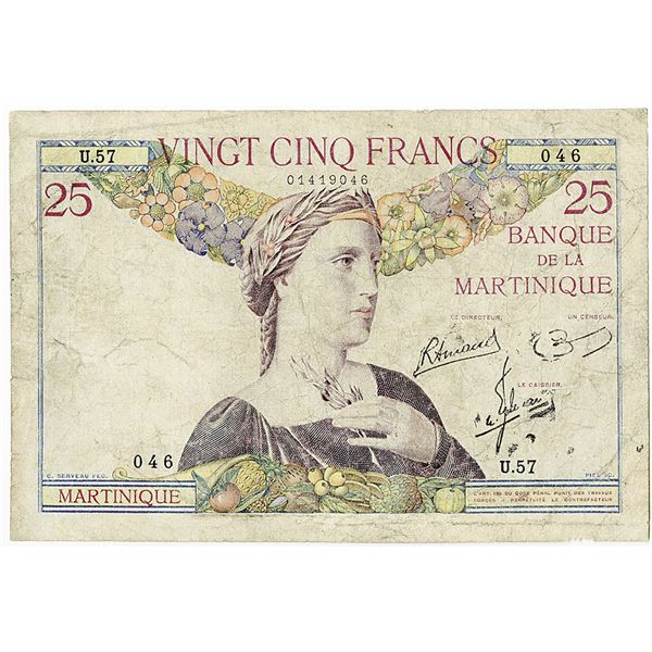 Banque de la Martinique. ND (1930-1945) Issue Banknote.