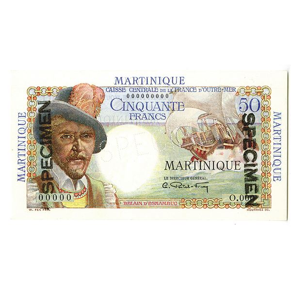 Martinique, Caisse-Centrale de la France d'Outre-Mer. ND (1947-1949). Specimen Note.
