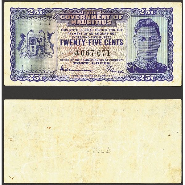 Government of Mauritius, ND (1940) Issue Banknote.
