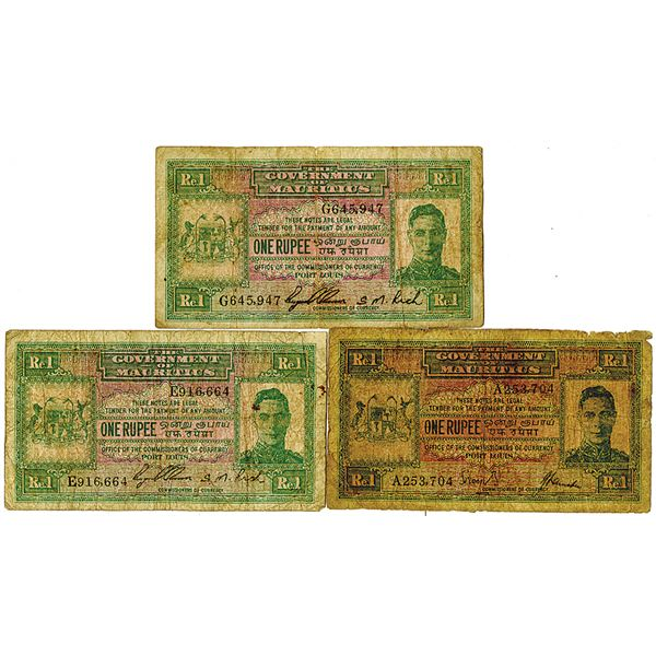 Government of Mauritius. ND (1940). Lot of 3 Issued Notes.