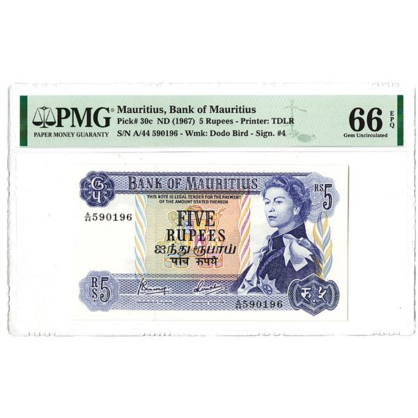 Bank of Mauritius. ND (1967). Issued Banknote.