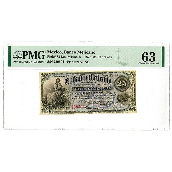 Banco Mejicano. 1878 Issue Banknote.