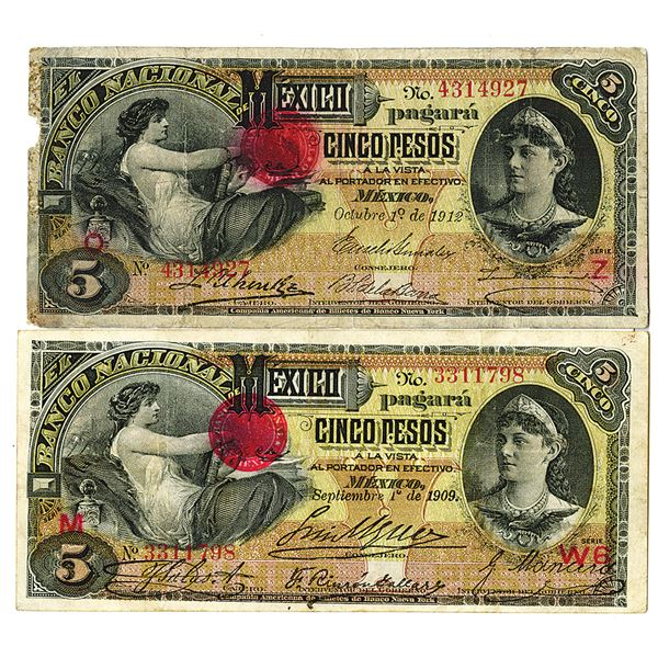 Banco Nacional de Mexico. 1909-1912. Lot of 2 Issued Notes.