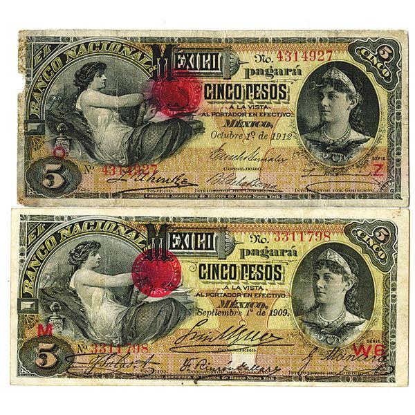 Banco Nacional de Mexico. 1909-1912. Lot of 2 Issued Notes.