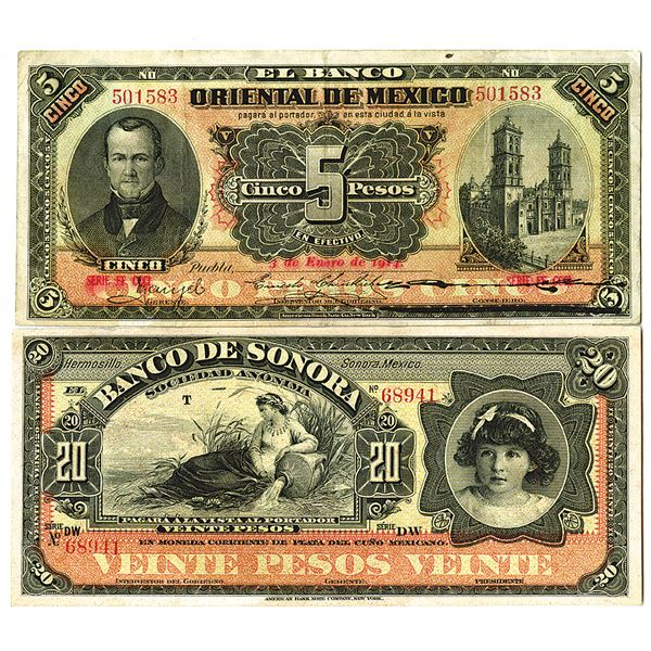 Banco Oriental & Banco de Sonora. ca. 1910s. Lot of 2 Issued & Remainder Notes.