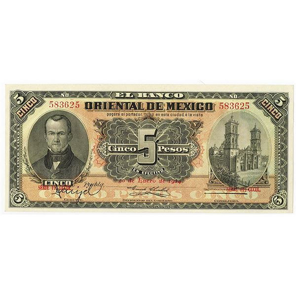 Banco Oriental de Mexico. 1914 Issue Banknote.