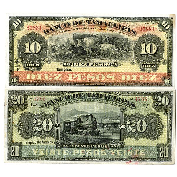 Banco de Tamaulipas. ca. 1910s. Lot of 2 Issued Notes.