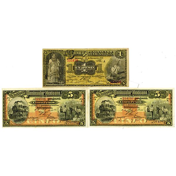 Banco Peninsular Mexicano. 1913-1914. Lot of 3 Issued Notes.