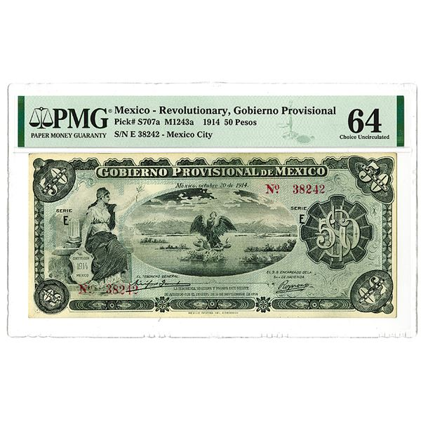 Gobierno Provisional. 1914 Issue Banknote.