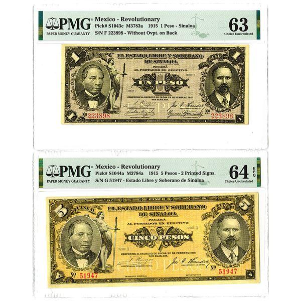 Estado Libre y Soberano de Sinaloa. 1915. Lot of 2 Issued Notes.