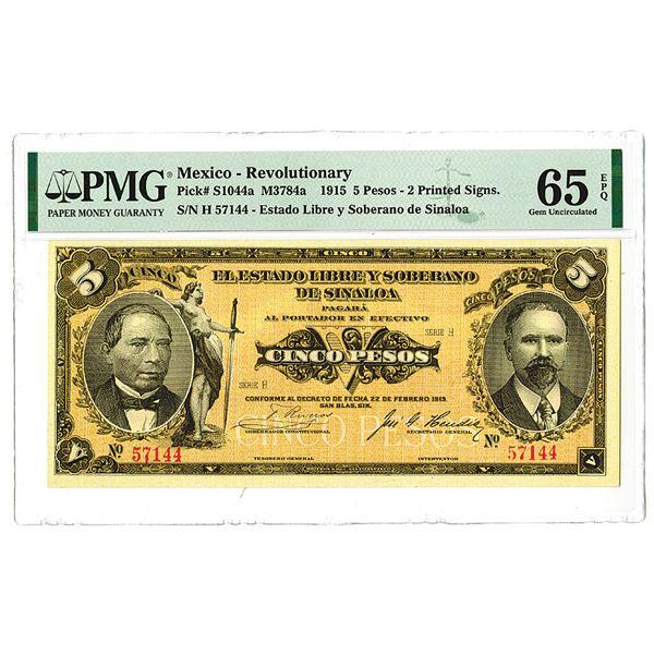Estado Libre  y Soberano de Sinaloa. 1915 Issue Banknote.