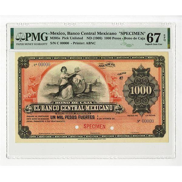 Banco Central Mexicano, Bono De Caja. 1903. Specimen Banknote.