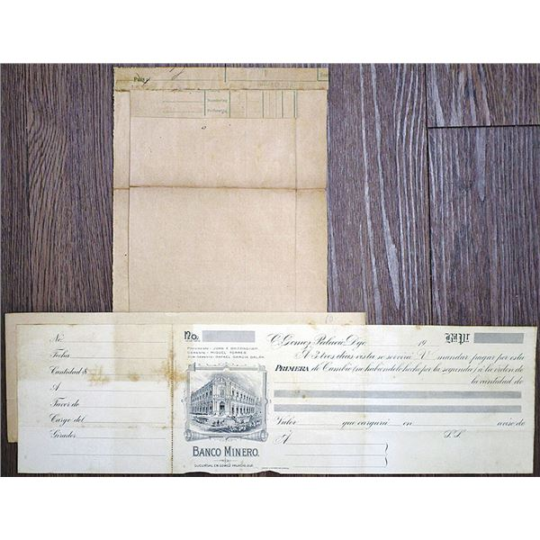 Banco Minero, 1907 Proof Bank Draft and Lithograph Printing Form