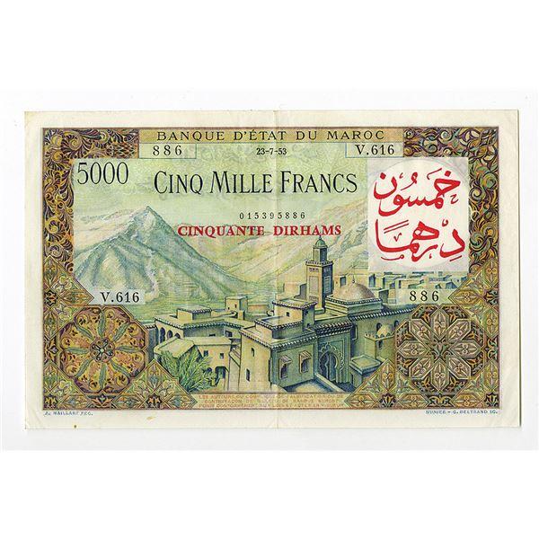 Banque D'Etat Du Maroc, 1953 (1959) Provisional Issue Banknote.