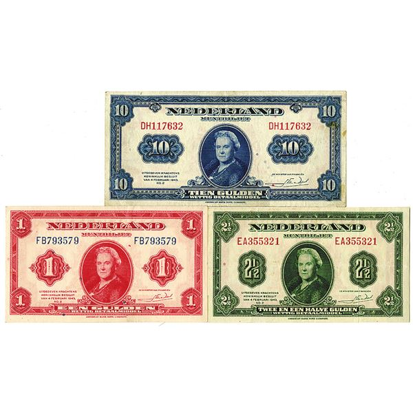 Muntbiljet - State Notes. 1943. Lot of 3 Issued Notes.
