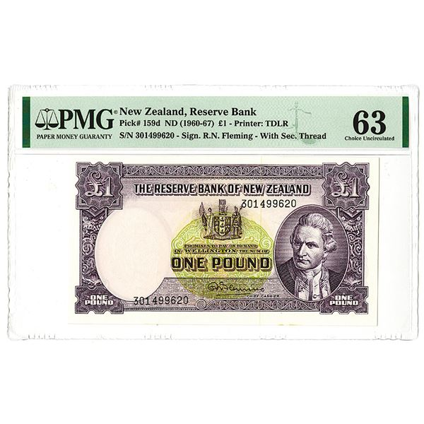 Reserve Bank of New Zealand. ND (1960-67) Issue Banknote.