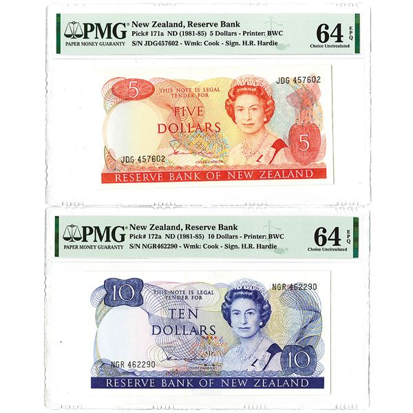 Reserve Bank of New Zealand. ND (1981-1985). Lot of 2 Issued Notes.