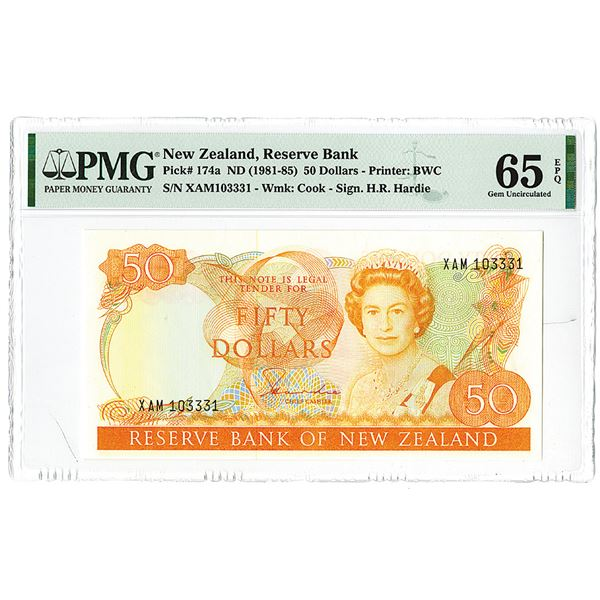 Reserve Bank of New Zealand. ND (1981-1985) Issue Banknote.