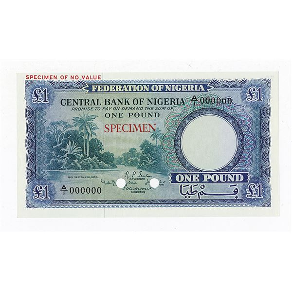 Central Bank of Nigeria. 1958. Specimen Note.