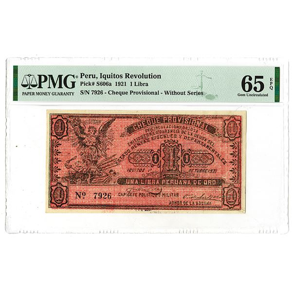 Iquitos Revolution. 1921 Issue Banknote.