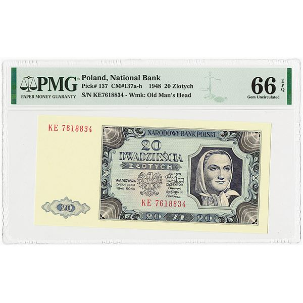 Bank Polski, 1948 Issue Banknote.