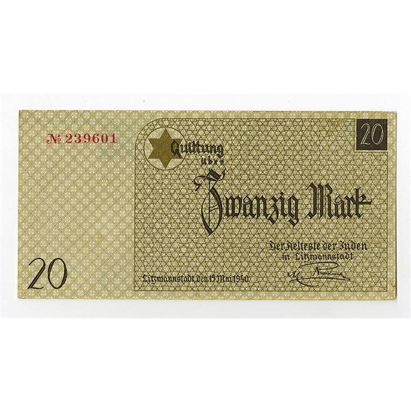 Lodz (Litzmannstadt) Ghetto. 1940 Issue Banknote.