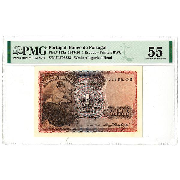 Banco de Portugal, 1920, Issued 1 Escudo Note.