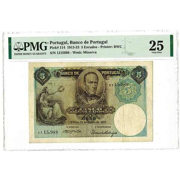 Banco de Portugal, 1920, Issued 5 Escudos Note.