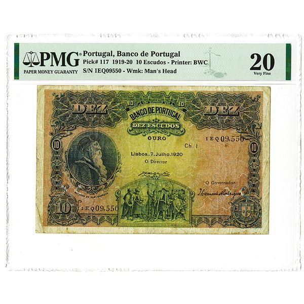 Banco de Portugal, 1920, Issued 10 Escudos Note.