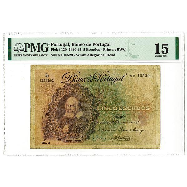Banco de Portugal, 1921, Issued 5 Escudos Note.