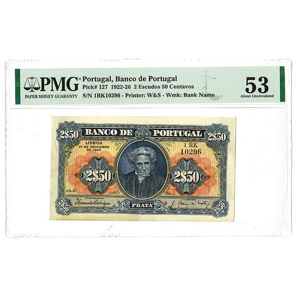 Banco de Portugal, 1922, Issued 2 Escudos 50 Centavos Note.