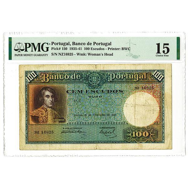 Banco de Portugal, 1935, Issued 100 Escudos Note.