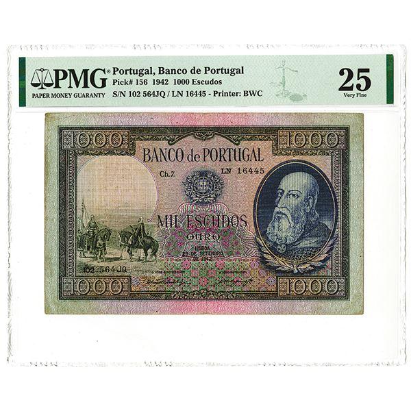 Banco de Portugal, 1942, Issued 1000 Escudos Note.