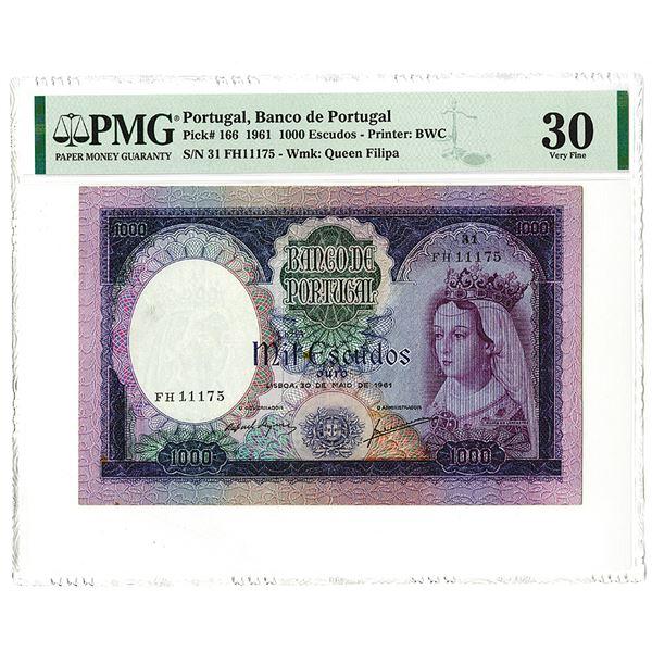 Banco de Portugal, 1961, Issued 1000 Escudos Note.