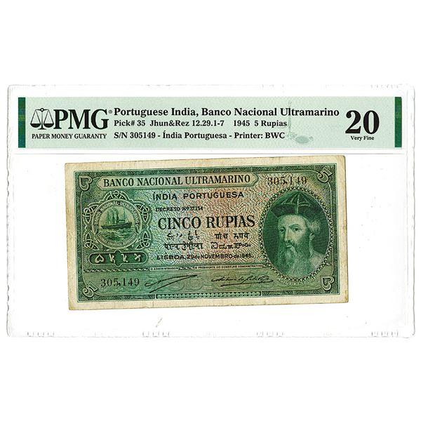 Banco Nacional Ultramarino, 1945 Issued Banknote.