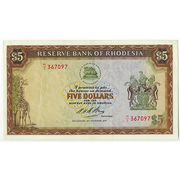 Reserve Bank of Rhodesia. 1972 Issue Banknote.