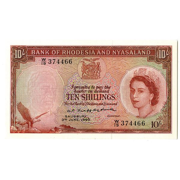 Bank of Rhodesia and Nyasaland. 1960 Issue Banknote.