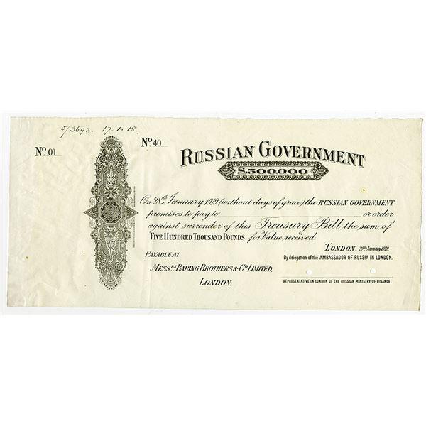 Russian Government, 1918, £500,000  Specimen Treasury Bill