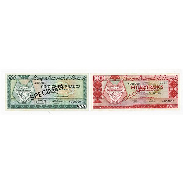 Banque Nationale du Rwanda. 1966-1969. Lot of 2 Specimen Notes.