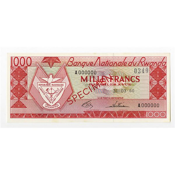 Banque Nationale du Rwanda. 1966. Specimen Note.