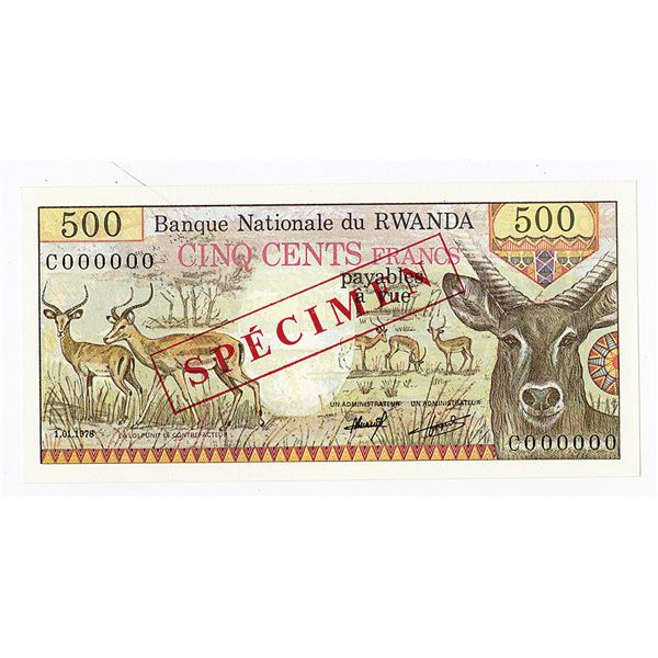 Banque Nationale du Rwanda. 1978. Specimen Note.