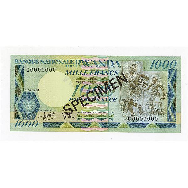 Banque Nationale du Rwanda. 1981. Specimen Note.