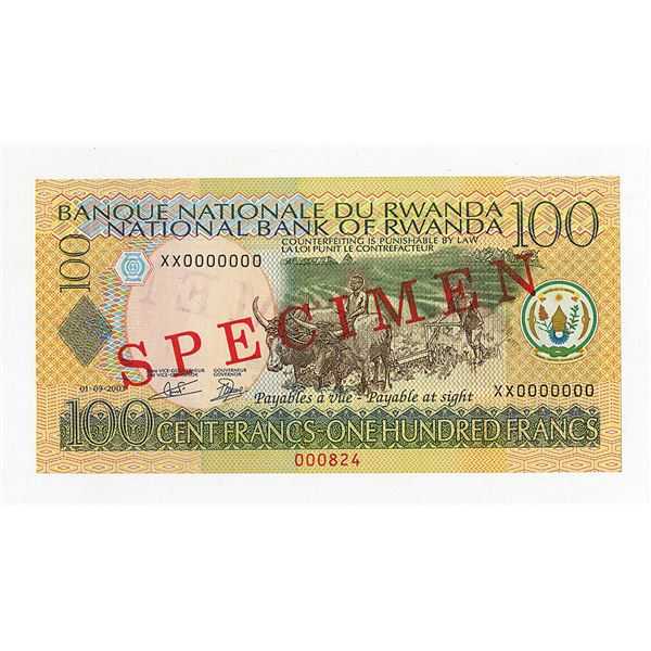National Bank of Rwanda. 2003. Specimen Note.